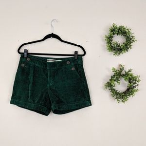 Anthropologie | Green Side Button Cord Shorts 6